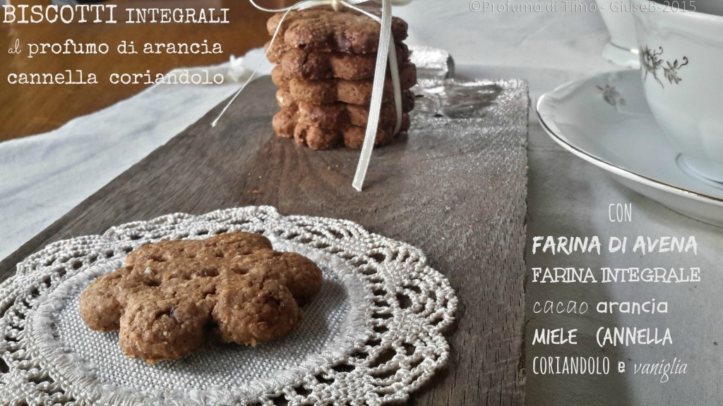 Biscotti integrali con farina di avena e cacao al profumo di arancia, cannella e coriandolo