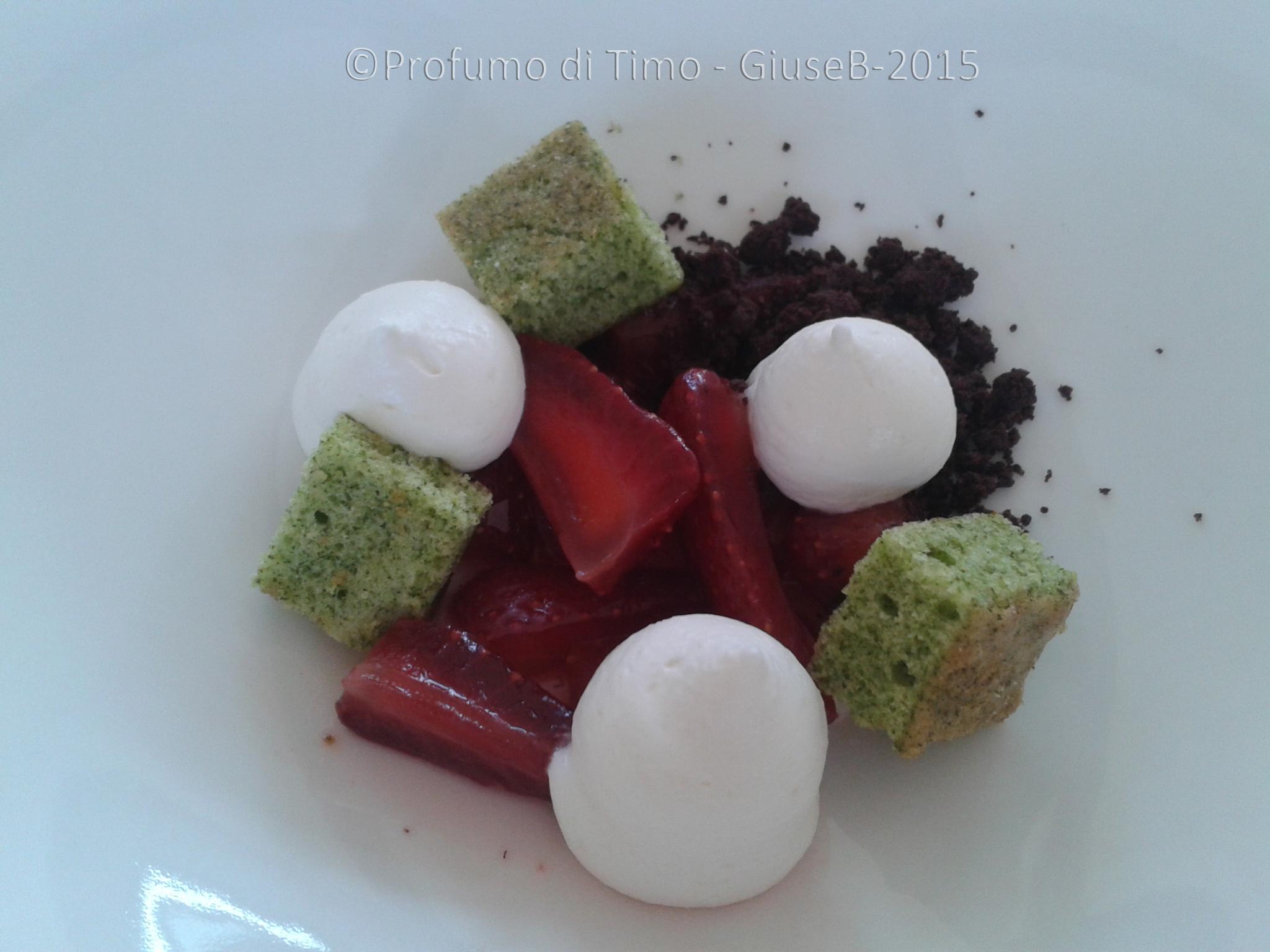 fragole crumble al cioccolato biscotto alla polvere di sedano ganache al cioccolato bianco e parmigiano