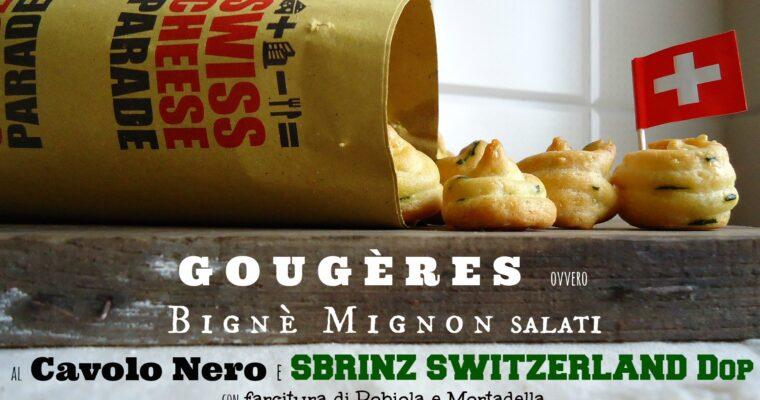 GOUGÈRES ovvero Bignè Mignon salati al cavolo nero e SBRINZ SWITZERLAND Dop con farcitura di robiola e mortadella