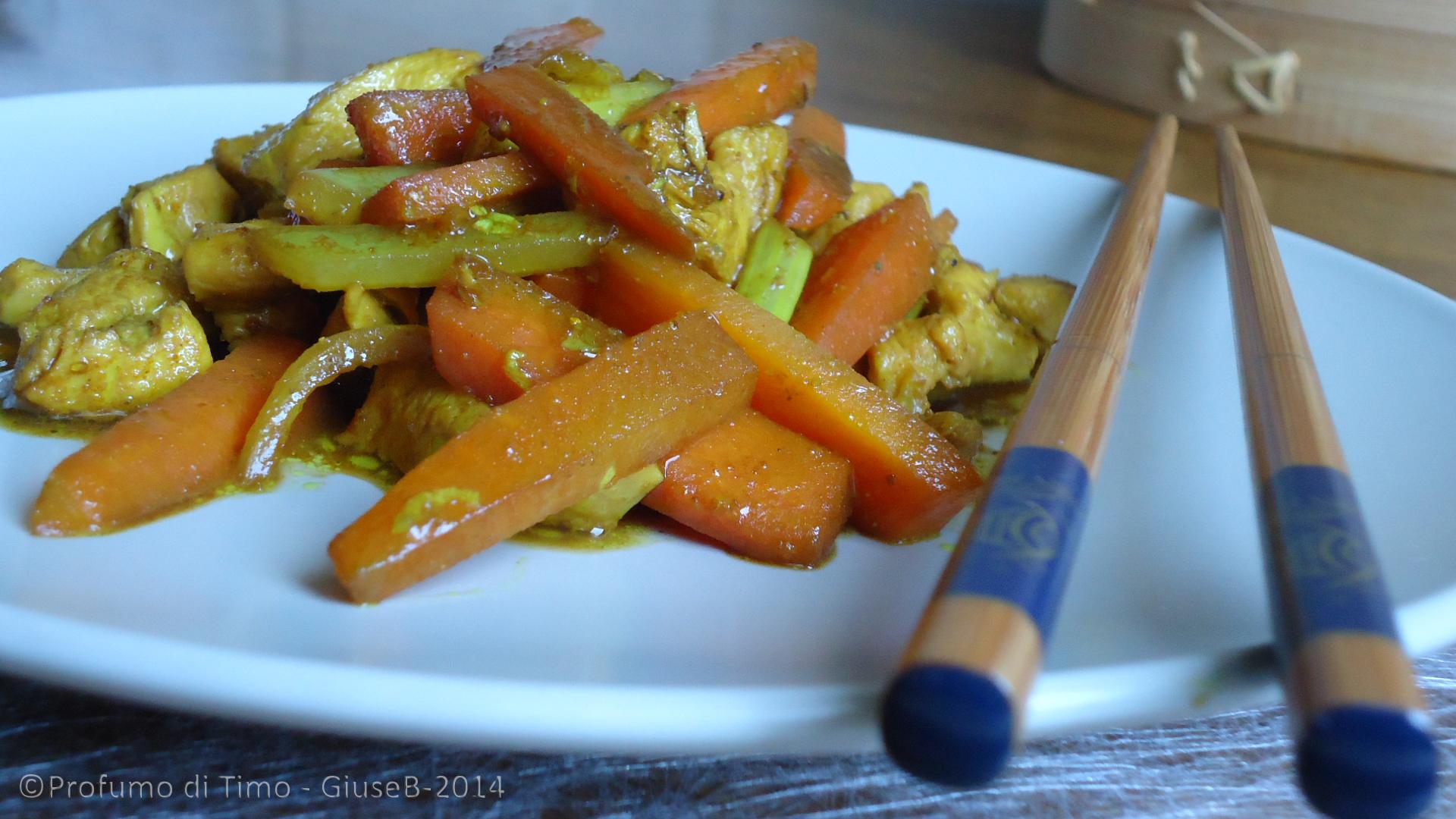 pollo al curry  con carote sedano e salsa di soia 2