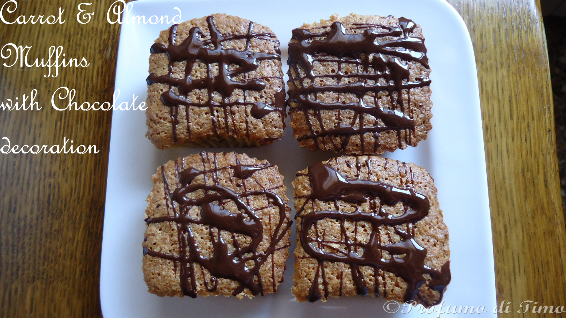 Carrot & Almond Muffins with Chocolate Decoration