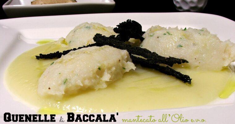 Quenelle di Baccalà mantecato all'olio su purea di porri e patate al Ginger con chips di Polenta Nera